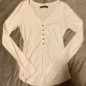 Abercrombie ribbed Henley, off white, NWOT